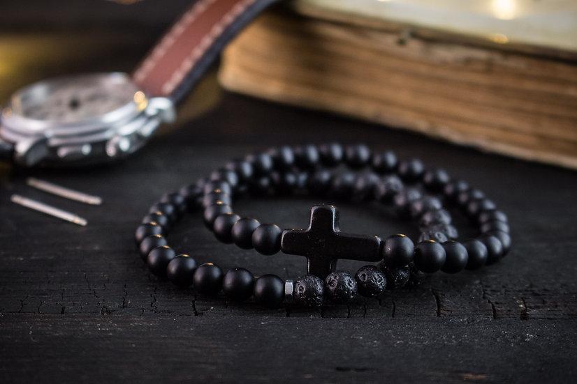 Black is my happy color- Matte black onyx & lava stone beaded stretchy bracelets