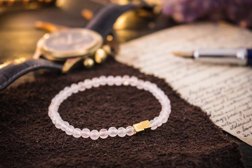 Rose quartz beaded stretchy bracelet with gold cubes