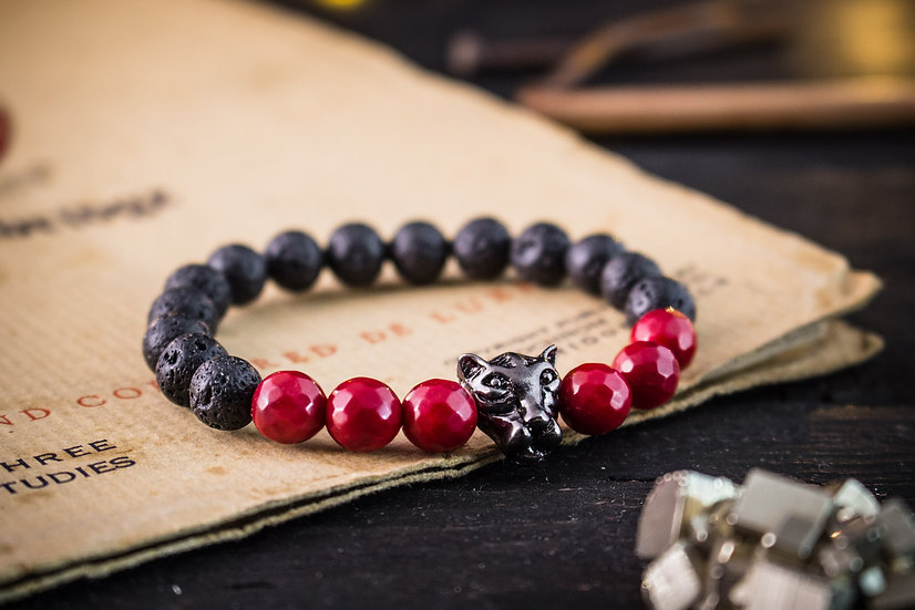 Lava stone & rede coral beaded stretchy bracelet with gunmetal leopard