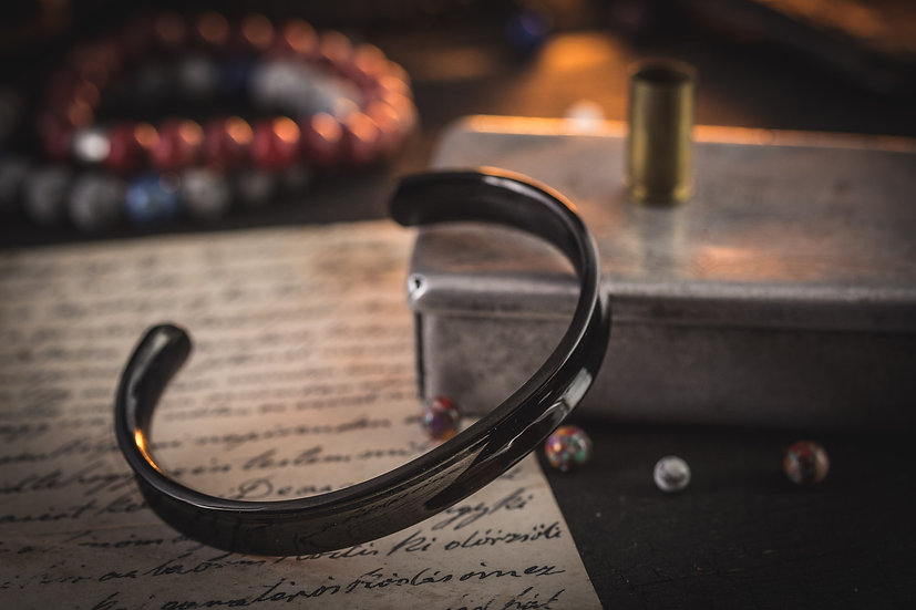 Black stainless steel cuff bangle men's bracelet