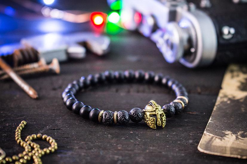 Matte black onyx & lava stone beaded stretchy bracelet with spartan helmet