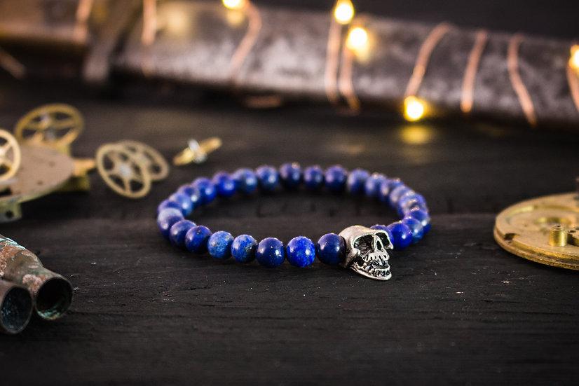 Blue Lapis lazuli beaded stretchy bracelet with silver skull