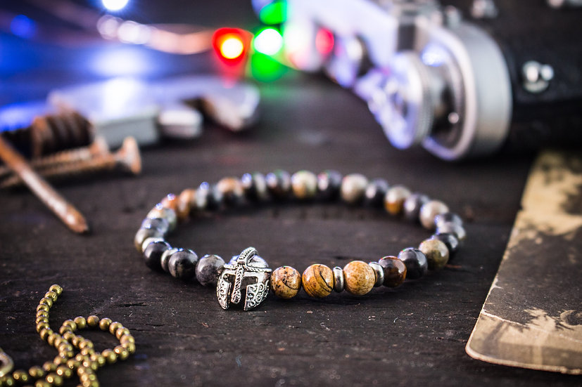 Picasso & jasper stone beaded stretchy bracelet with spartan helmet