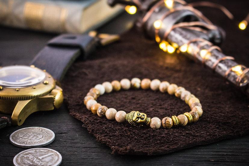 Jasper beaded stretchy bracelet with gold Buddha