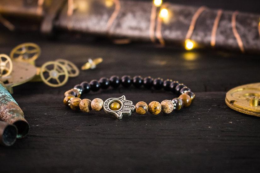 Tiger eye, jasper stone and black onyx beaded bracelet with hamsa hand