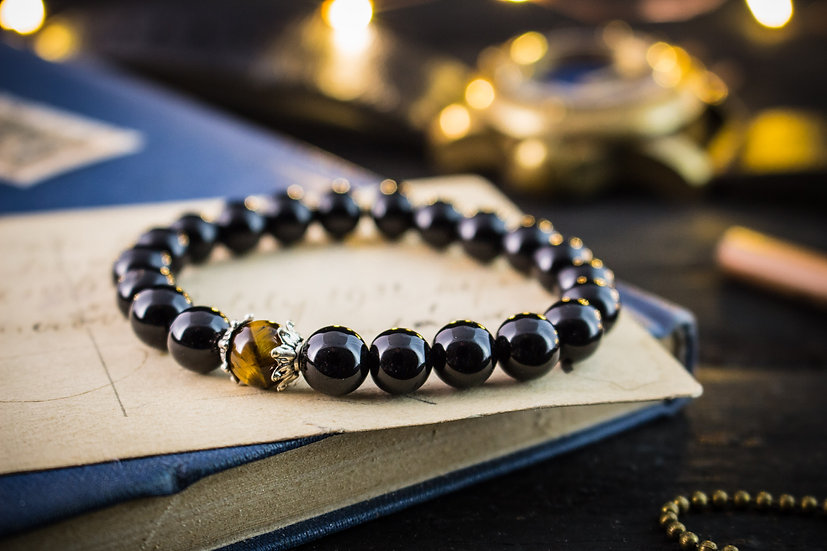 Onyx & tiger eye beaded mens bracelet