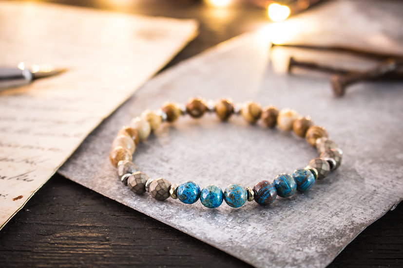 Blue crazy lace agate, jasper stone and bronze hematite beaded stretchy bracelet