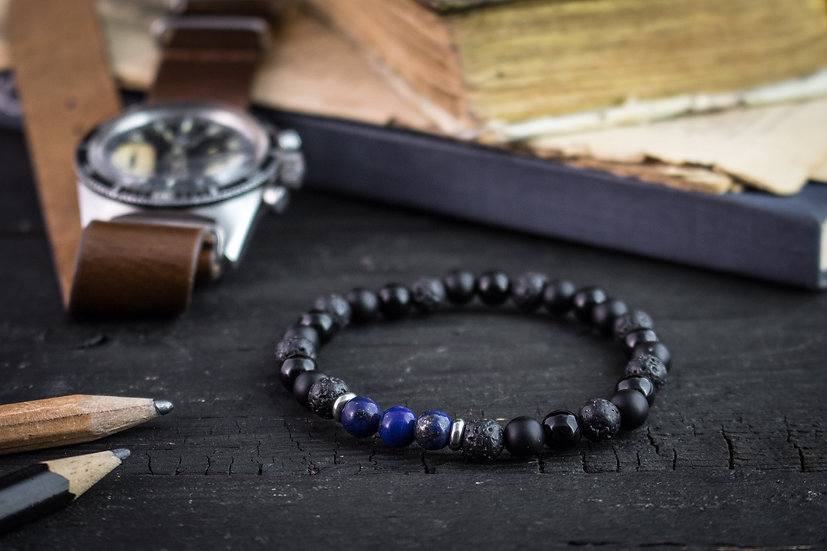 Black lava stone, lapis lazuli & onyx beaded bracelet