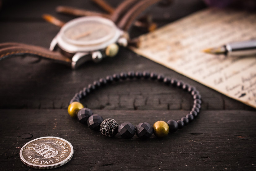 BLACK and Bronze - Matte black faceted onyx beaded men's bracelet