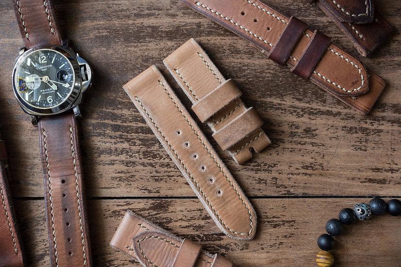 Handmade 24mm light chestnut brown oiled leather strap 125/85mm