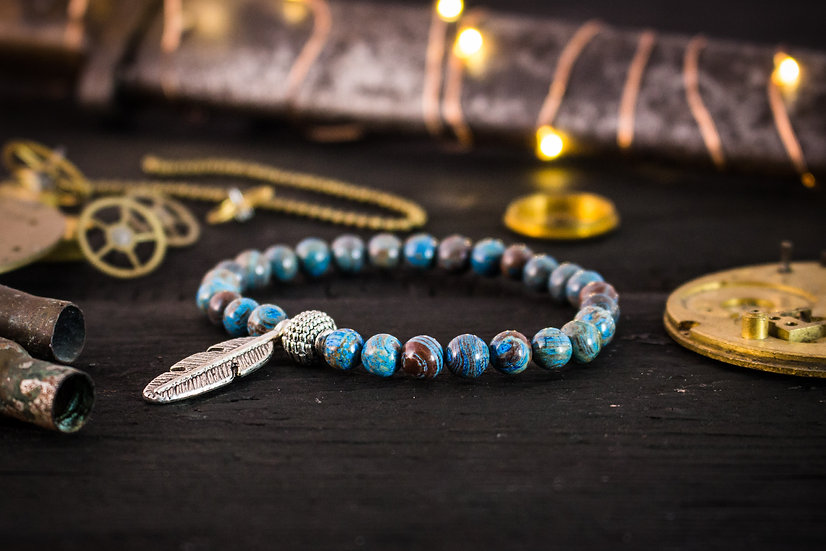 Blue crazy lace agate beaded stretchy bracelet with silver feather