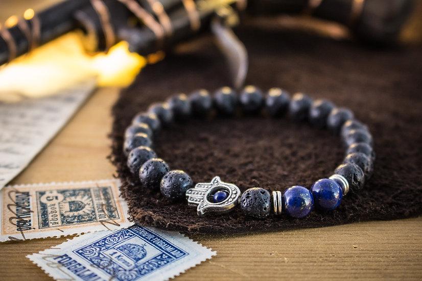 Lava stone & lapis lazuli beaded stretchy bracelet with Hamsa hand