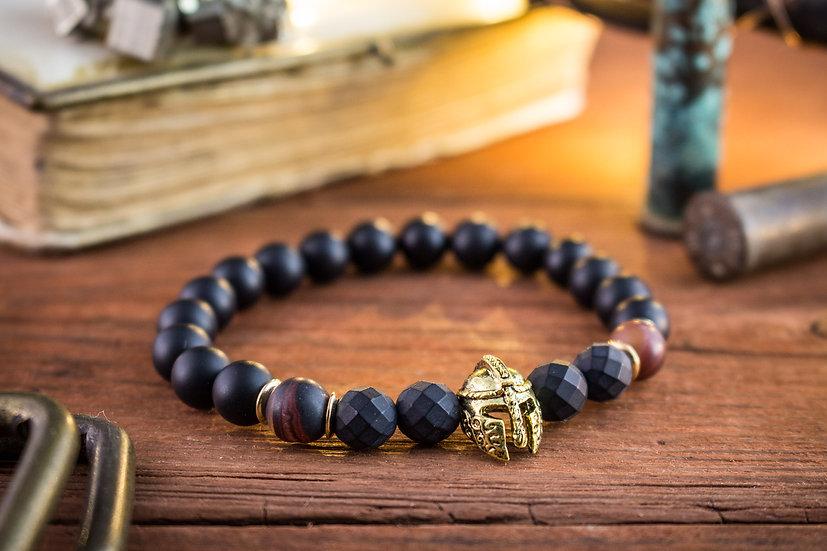 Matte black onyx & dream agate beaded stretchy bracelet with gold spartan helmet