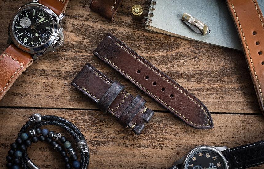 Antiqued handmade 24mm dark brown leather strap 125/75mm