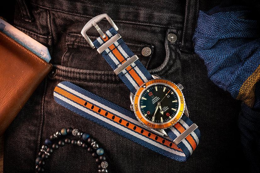 Navy Blue, White and Orange Seatbelt NATO Watch Strap