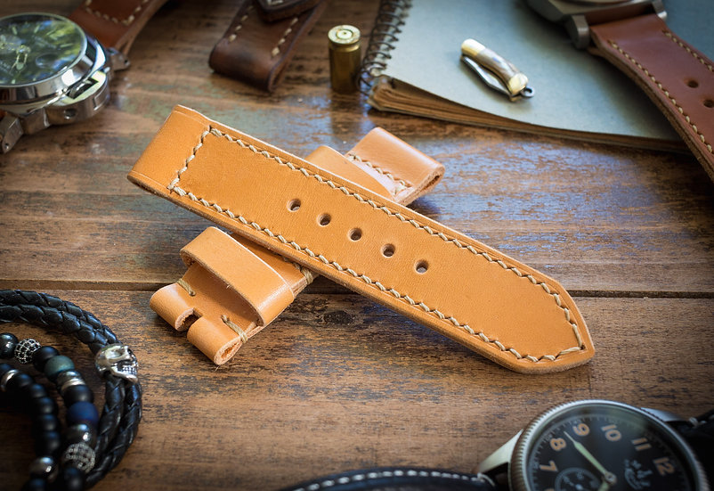 Handmade 24mm yellow brown leather strap 126/84mm