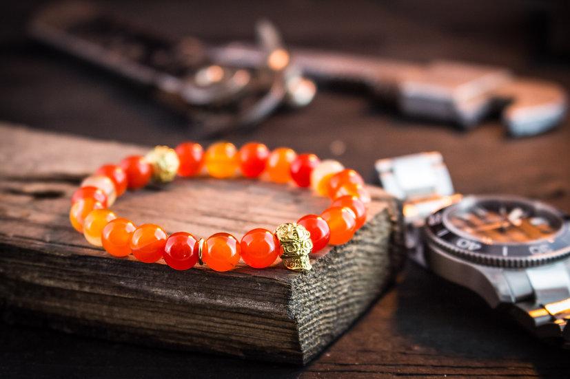 Orange agate beaded stretchy bracelet with gold skull