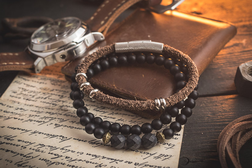 Vintage hairy brown genuine leather braided cord and double wrap onyx beaded bracelet pack