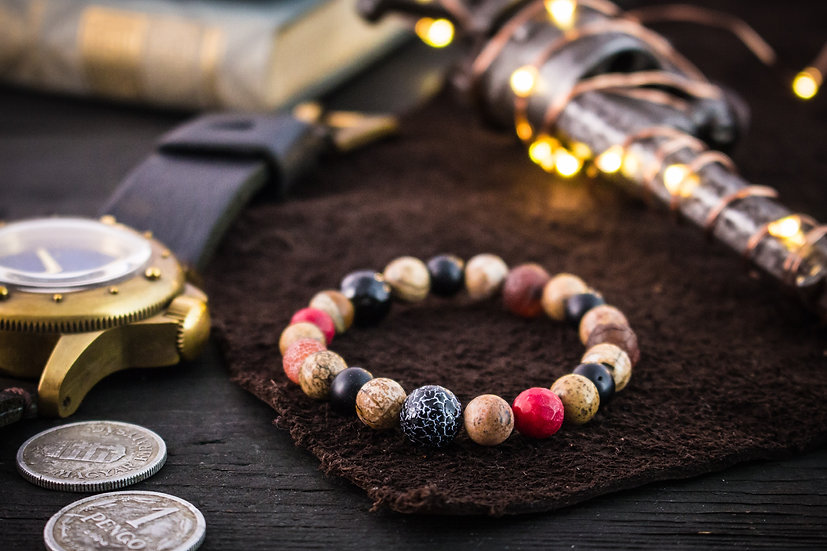 Brown jasper stone, onyx, red coral, orange agate, dream agate beaded bracelet