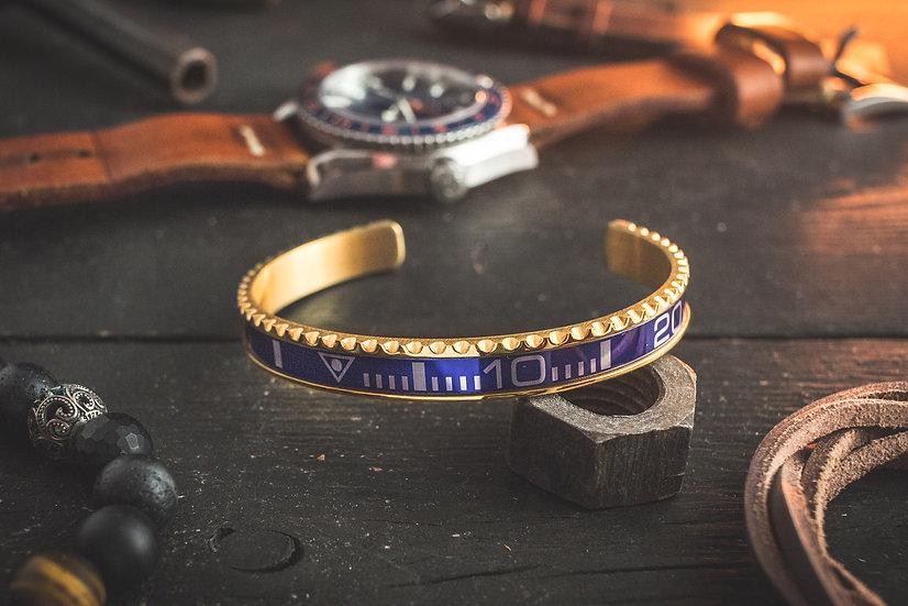Gold plated Blue submariner bezel stainless steel bangle
