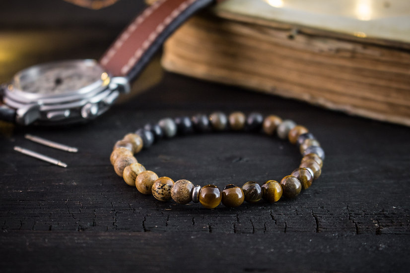 Picasso stone & brown jasper and tiger eye beaded stretchy bracelet