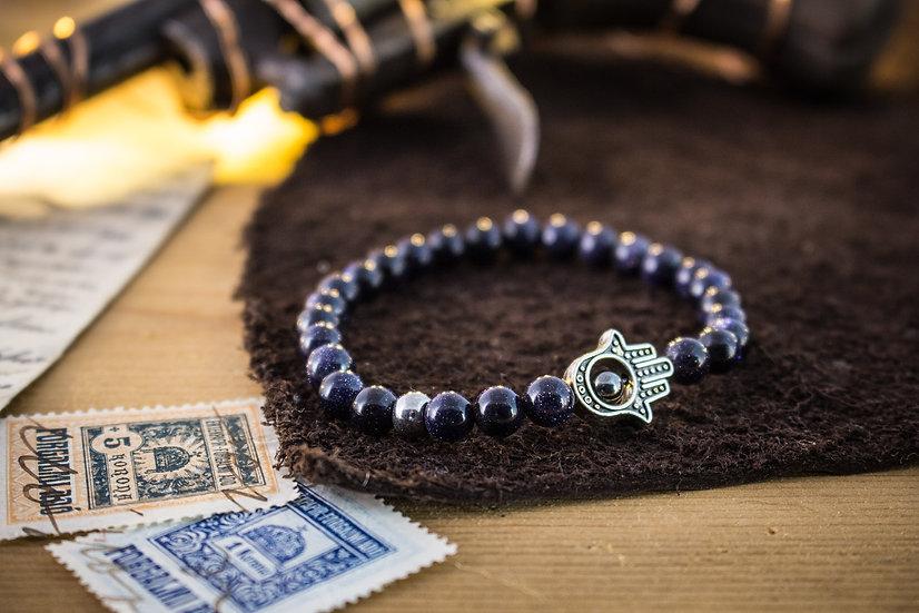 Blue sandstone beaded stretchy bracelet with silver Hamsa hand