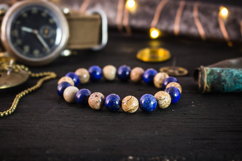 Blue Lapis lazuli, brown jasper stone beaded stretchy bracelet