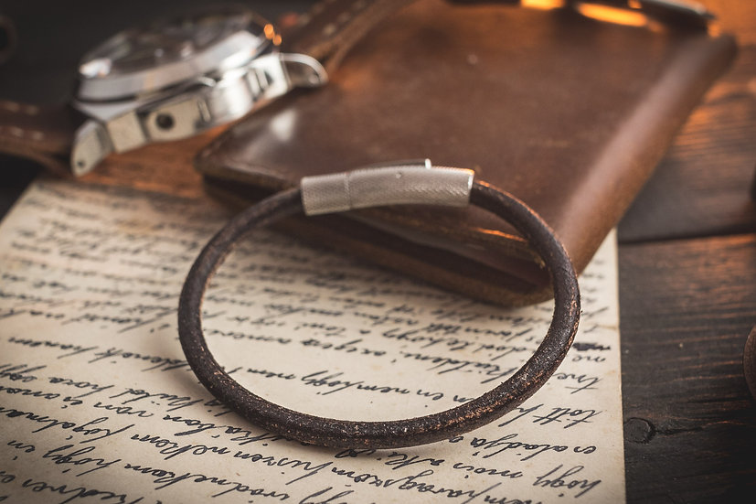 Rustic dark brown genuine leather braided cord bracelet