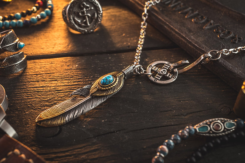Stainless Steel Men's Necklace with antiqued Feather Pendant