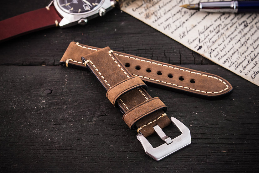 20mm Brown crazy horse genuine leather watch strap