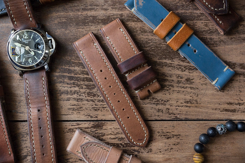 Handmade 24mm antiqued light brown oiled leather strap 130/85mm