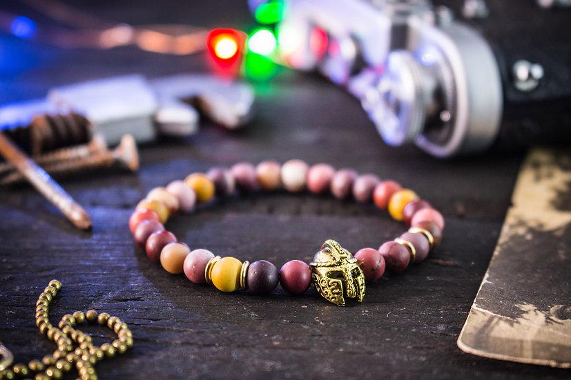 Mookaite beaded stretchy bracelet with spartan helmet