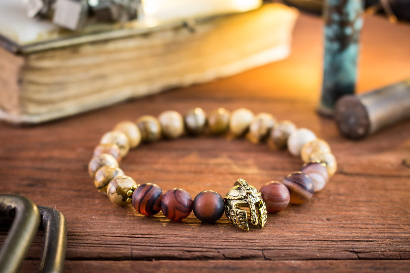 Jasper & dream agate beaded stretchy bracelet with gold spartan helmet
