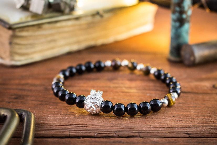 Black onyx & tiger eye beaded stretchy bracelet with sterling silver Lion