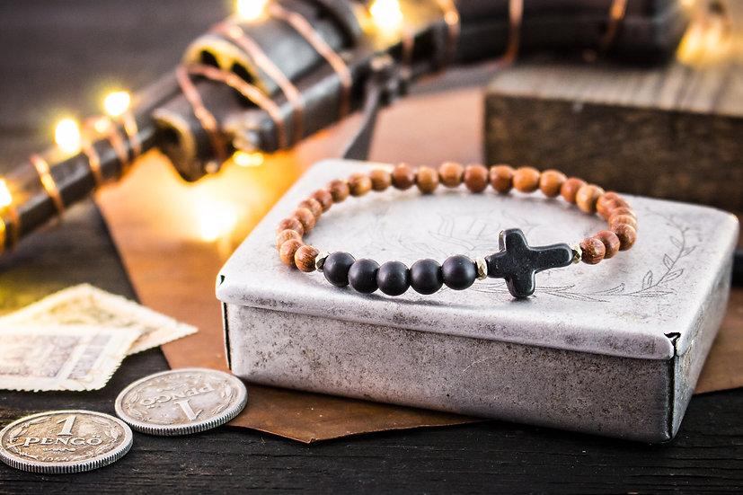 Matte black onyx & sandalwood beaded stretchy bracelet with black cross