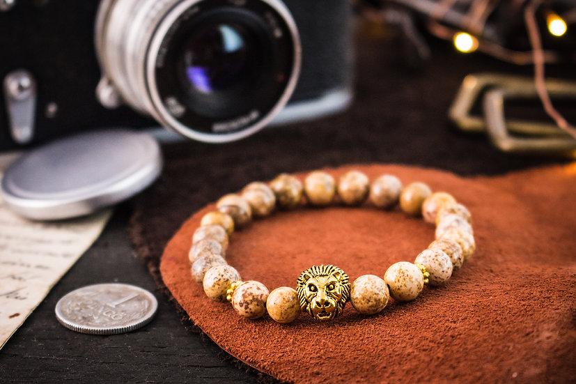 Jasper beaded stretchy bracelet with gold lion