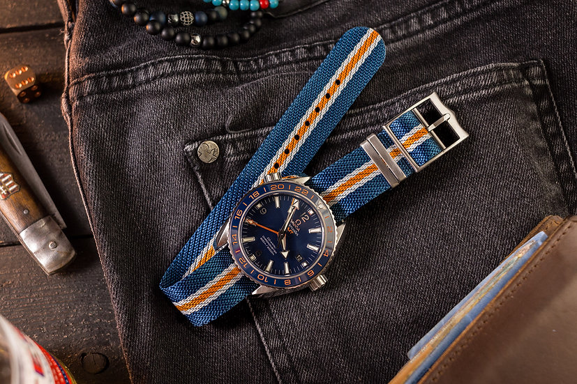 20mm Blue, White and Orange Woven Fabric Adjustable Single Pass Nato Watch Strap