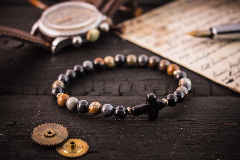 Picasso stone beaded stretchy bracelet with black cross