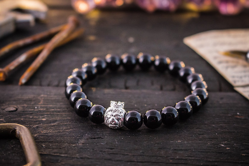 Black onyx beaded stretchy bracelet with sterling silver lion