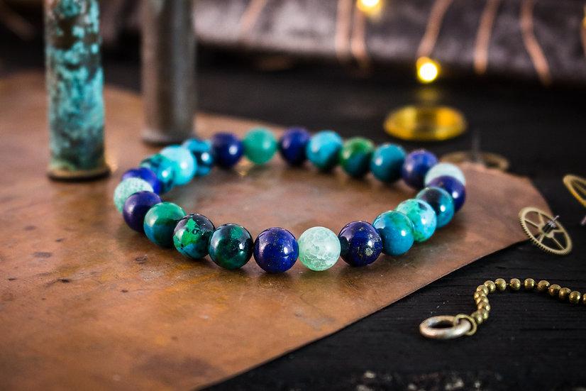 Greenish chrysocolla, crackle agate and blue lapis lazuli beaded stretchy b