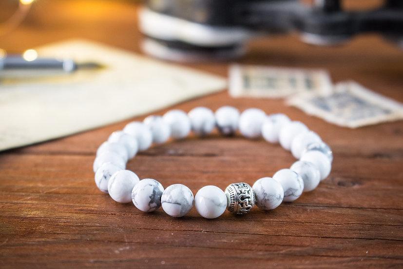 White howlite & dream agate beaded stretchy bracelet