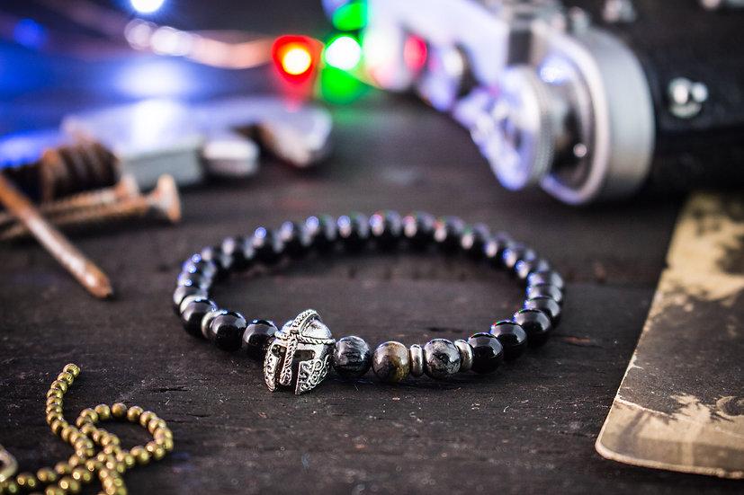 Black onyx & picasso stone beaded stretchy bracelet with spartan helmet