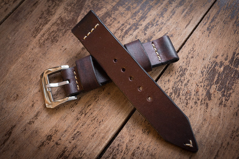 Handmade 22mm antiqued brown leather watch strap 126/87mm