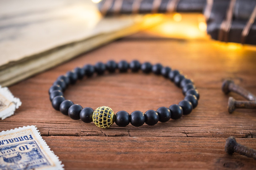 Matte black onyx beaded stretchy bracelet with micro pave bead
