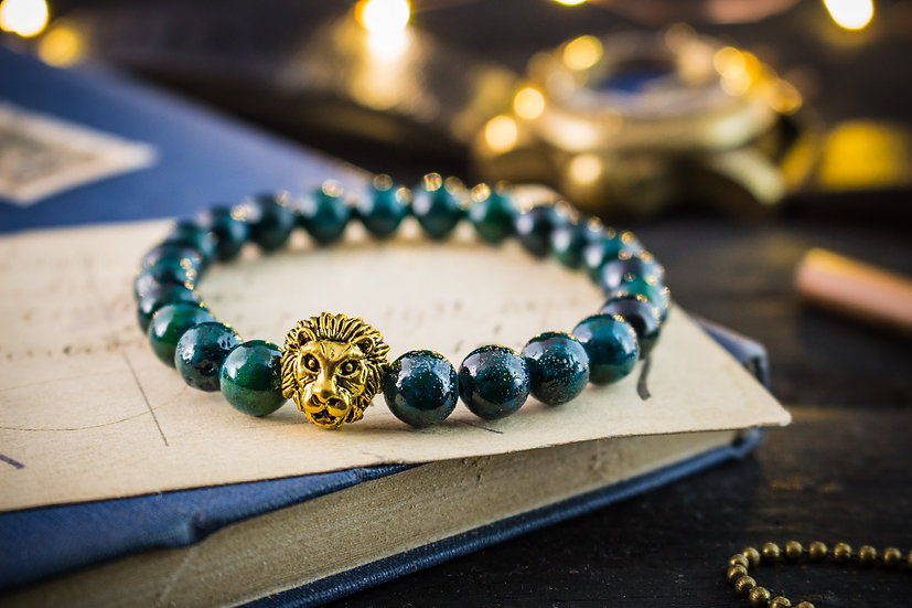 Greenish chrysocolla beaded stretchy bracelet with gold lion