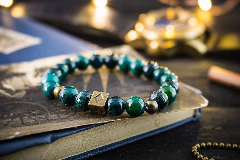 Greenish chrysocolla beaded stretchy bracelet with bronze Poker bead