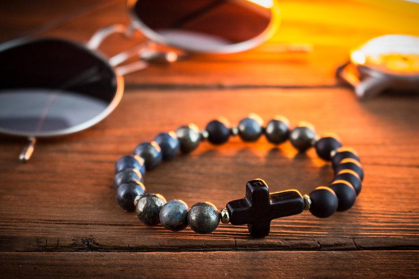 Black Onyx & half blue pyrite beaded stretchy bracelet with black cross
