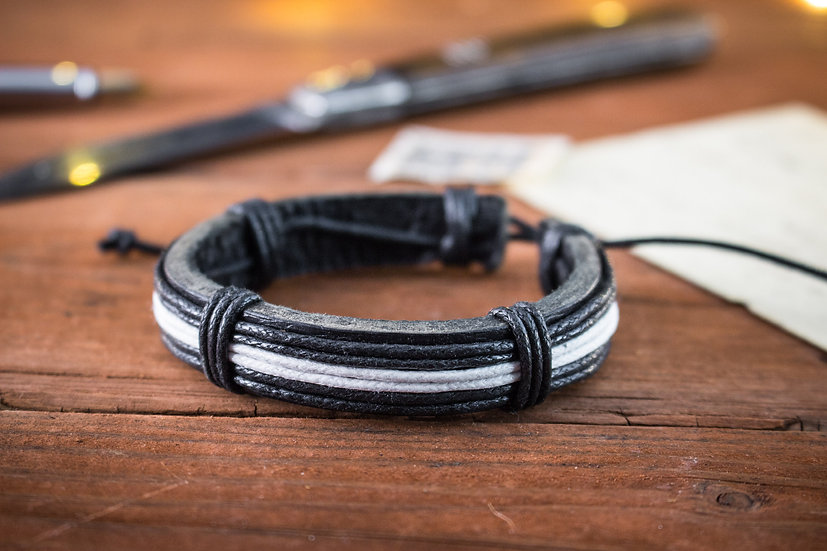 Genuine leather and white and black waxed cord bracelet