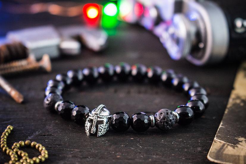 Black onyx & lava stone beaded stretchy bracelet with spartan helmet