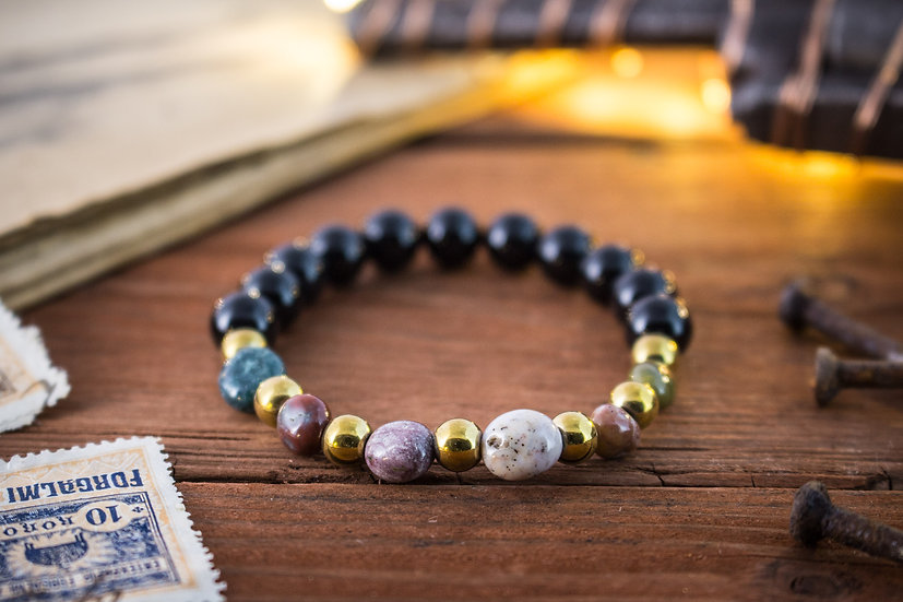 Black onyx & freeform indian agate beaded stretchy bracelet